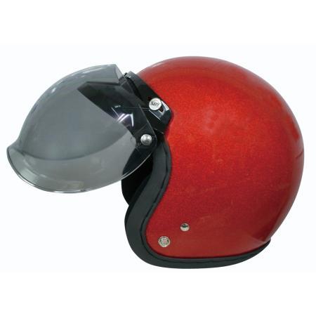 バイザー付きで陽射しもカット♪UVカット加工+開閉式☆ほとんどのジェットヘルメットに対応! ダムトラックス フリップアップバブルシールド DAMMTRAX FLIP UP BUBBLE SHIELD バイク ヘルメット用 シールド