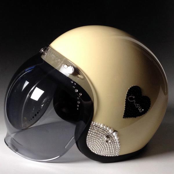 SWAROVSKI PRINCESS スワロフスキー プリンセス ジェットヘルメット / CROW クロウ バイク用ヘルメット/レディース/メンズ/可愛い/SWAROVSKI/デコ/カスタム/オリジナル