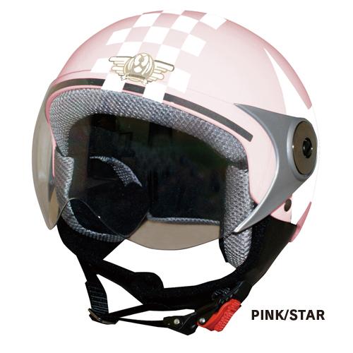 可愛い子供用ヘルメット ★ ダムトラックス POPO GT ポポジーティー キッズ・ジュニアサイズ ハーフジェットヘルメット チェック&スター / DAMM TRAX バイク用ヘルメット