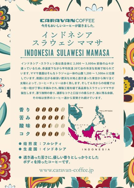 【7月マンスリーコーヒー】インドネシア スラウェシ ママサ 200g
