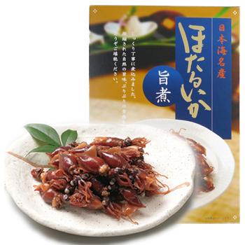 あいば食品「日本海名産 ほたるいかセット/旨煮、ピリッ辛、わさび茎入り」 凝縮された自然の旨味