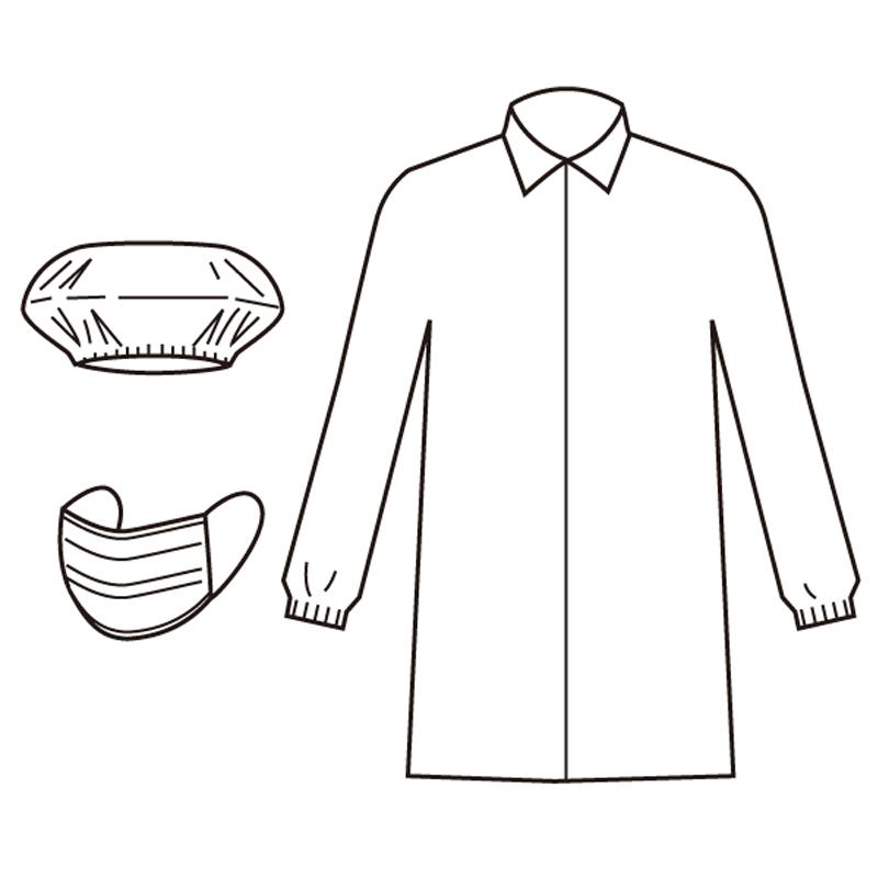 白衣3点セット(白衣・マスク・キャップ) 50式 CSC-AZ CLEAN 1301
