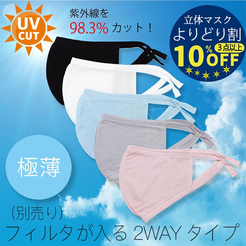 紐調整可フィルタが入るUVカット極薄マスク  綿100%(※フィルタ別売り)【ネコポス7】