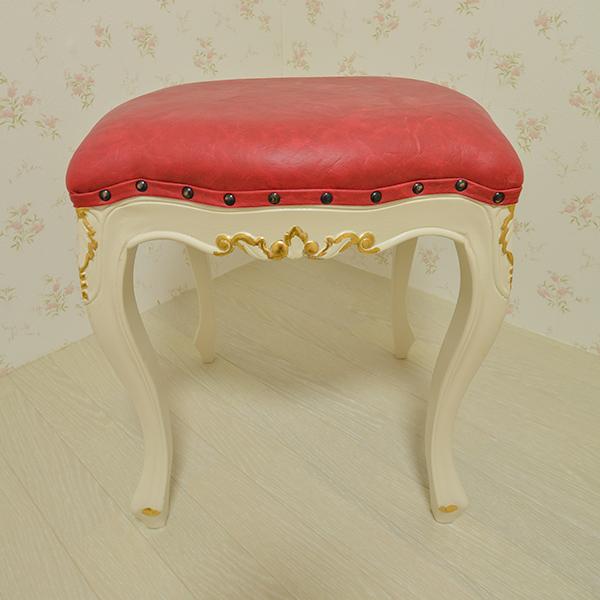 oro bianco スツール オットマン PVC Red マホガニー材使用 白家具 輸入家具 アンティーク調家具