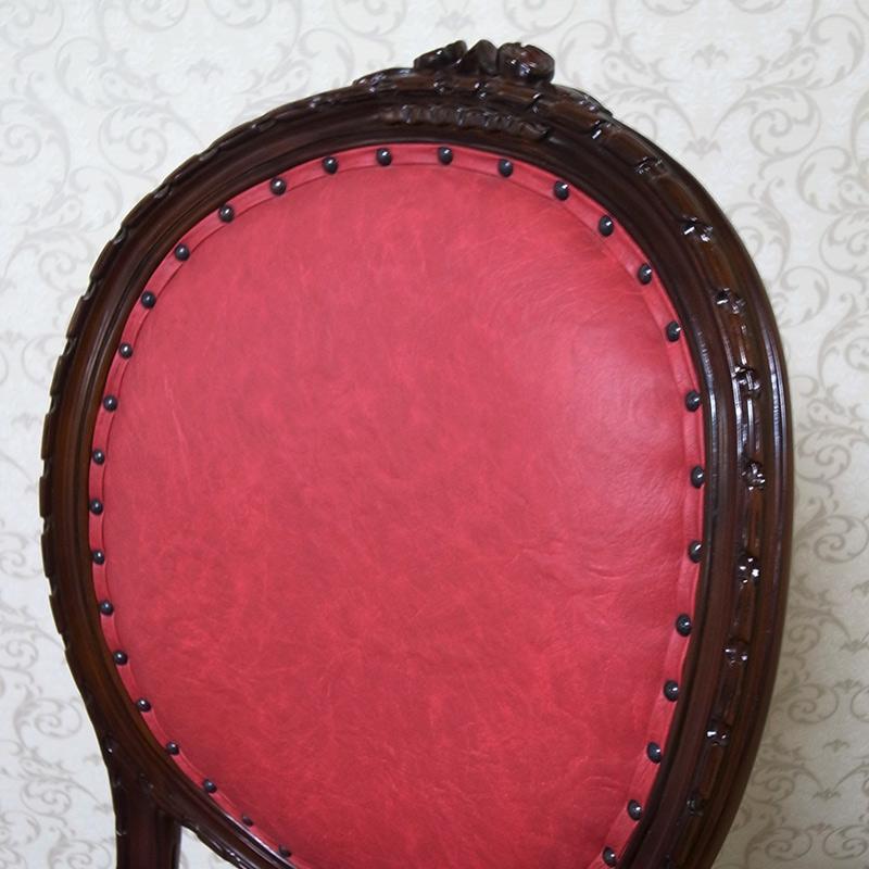marrone 椅子 ダイニングチェア PVCローズレッド マホガニー材使用