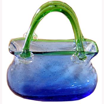 ガラス花瓶:バスケット:ブルー