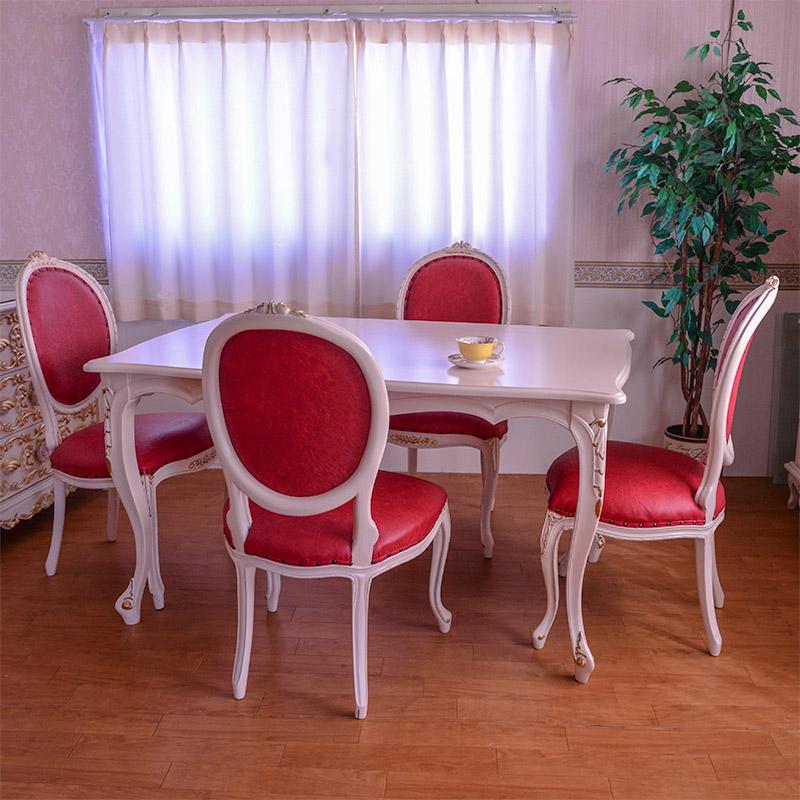 oro biancoダイニング5点セット スクエア150ロココ調家具 【送料無料】 PVCレッド