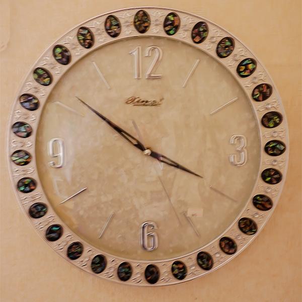 メタリックシルバーな壁掛け時計:465【送料無料】無音