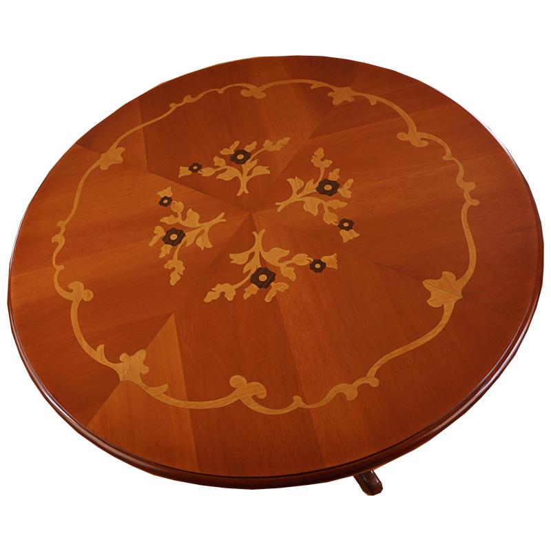 【お客様組み立て】marrone ダイニングテーブル+チェア4脚セット 円形 100cm花柄 マホガニー材 ファブリックA