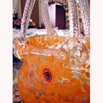 ガラス花瓶:バスケット:オレンジ