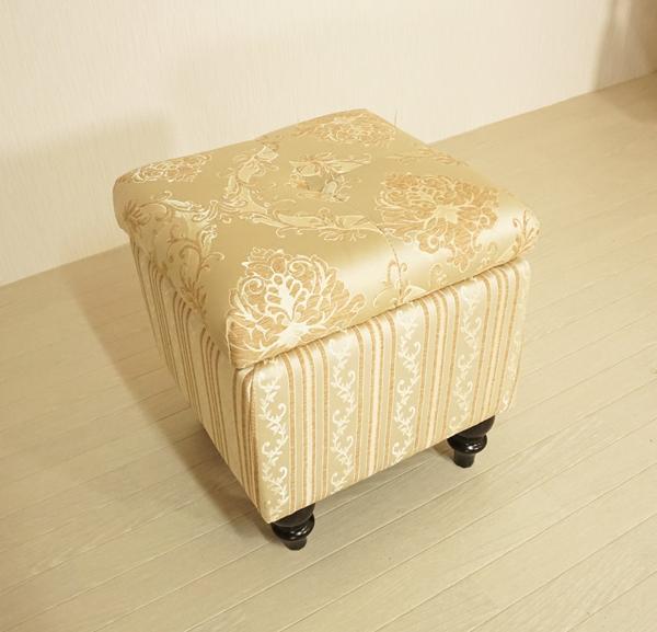 ロココ調ファブリックボックススツールA0101:四角:ゴールド(送料無料)