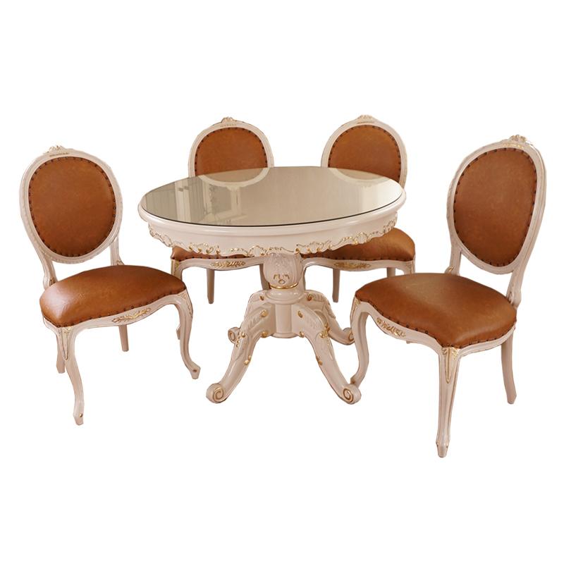 2脚セット oro bianco 椅子 ダイニングチェア PVCキャメルブラウン マホガニー材使用