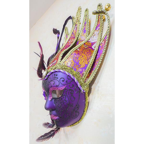 輸入インテリア パーティマスク F3PU 羽飾り付き紫