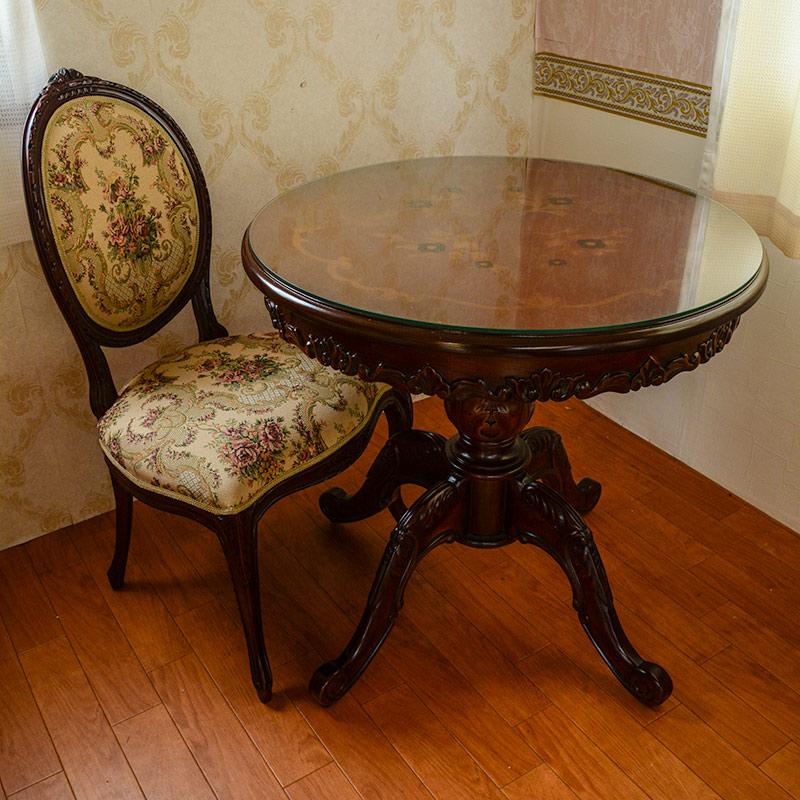 marrone 4本脚 ダイニングテーブル 円形 80cm花柄 マホガニー天板ガラスサービス 送料無料