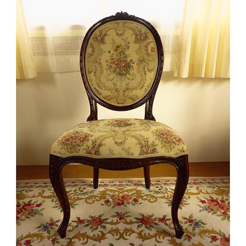marrone 椅子 ダイニングチェア FabricAローズ マホガニー材使用