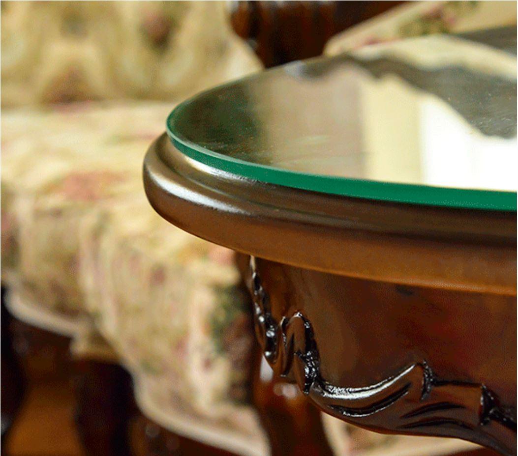 marrone 4本脚サイドテーブル/ティーテーブル ct201-55 花柄 マホガニー材使用 天板ガラスサービス