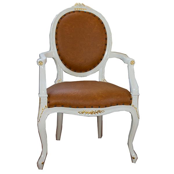 oro bianco 肘付き椅子 アームチェア PVCキャメルブラウン マホガニー材使用