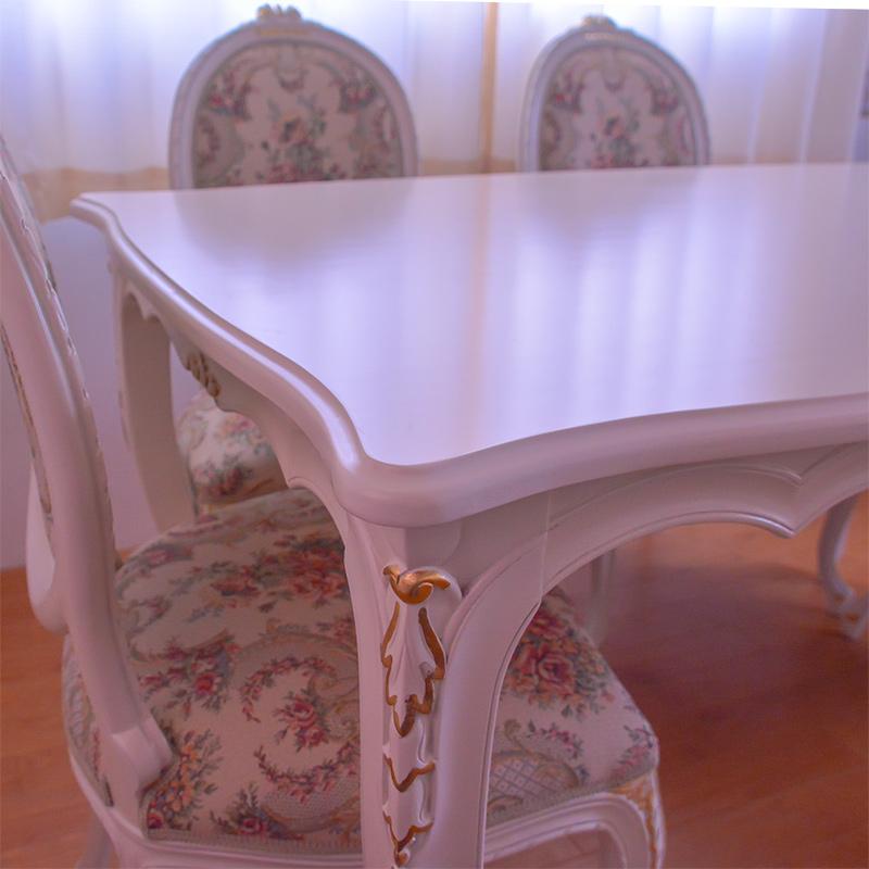 oro bianco ダイニングテーブル 食卓机 スクエア135cm  【天板ガラスサービス】