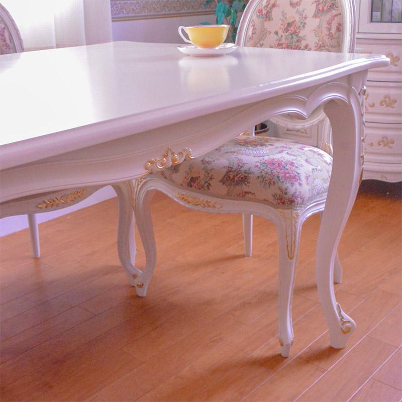 oro biancoダイニング5点セット:スクエア135ロココ調家具:アイボリーゴールド:【送料無料】;PVCブラウン