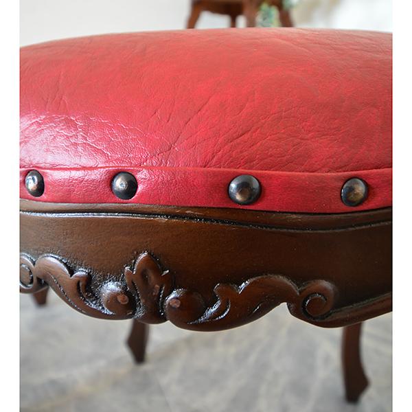 マホガニー家具:猫脚スツール:レッド 送料無料