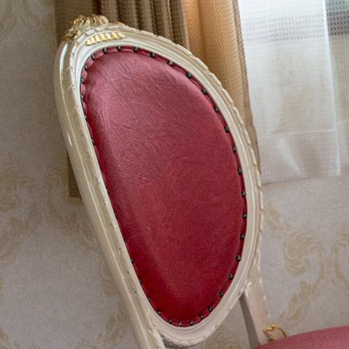 oro biancoダイニング5点セット:スクエア135ロココ調家具:アイボリーゴールド:【送料無料】;PVCレッド