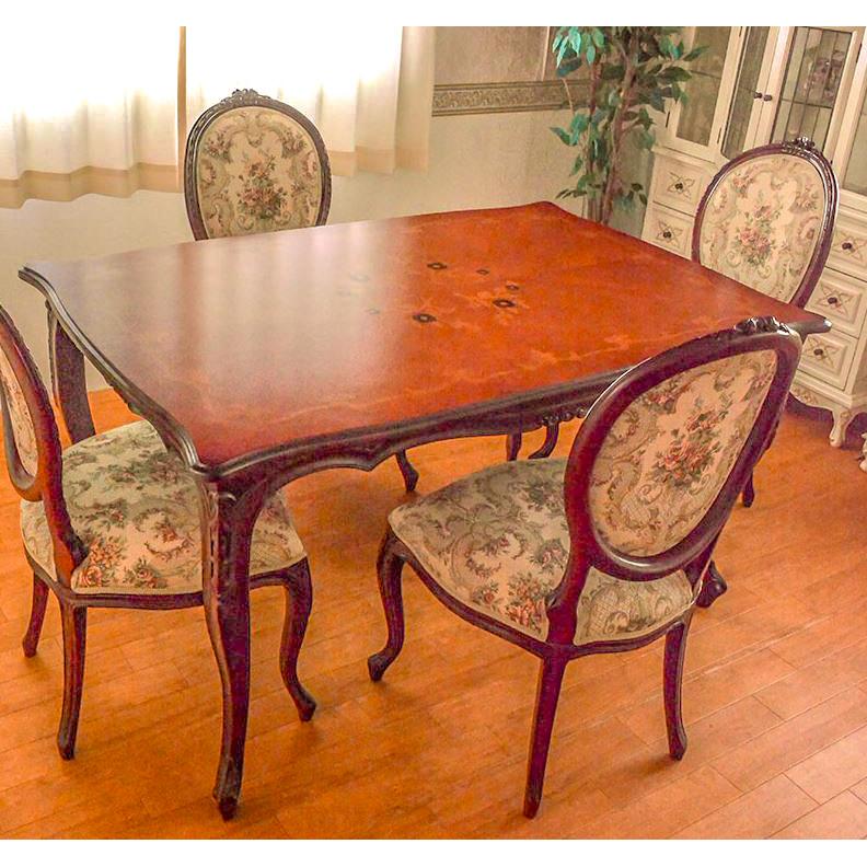(天板ガラスサービス中!)marrone スクエア ダイニングテーブル+ダイニングチェア4脚セット 食卓机+椅子4脚セット 135cm花柄 マホガニー材使用 3タイプ