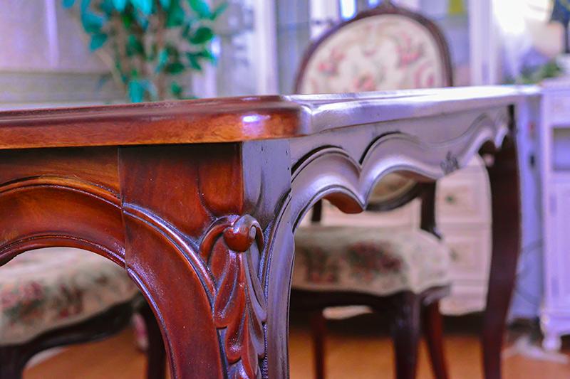 marrone スクエア ダイニングテーブル+ダイニングチェア4脚セット 食卓机+椅子4脚セット 150cm花柄 マホガニー材使用 3タイプ