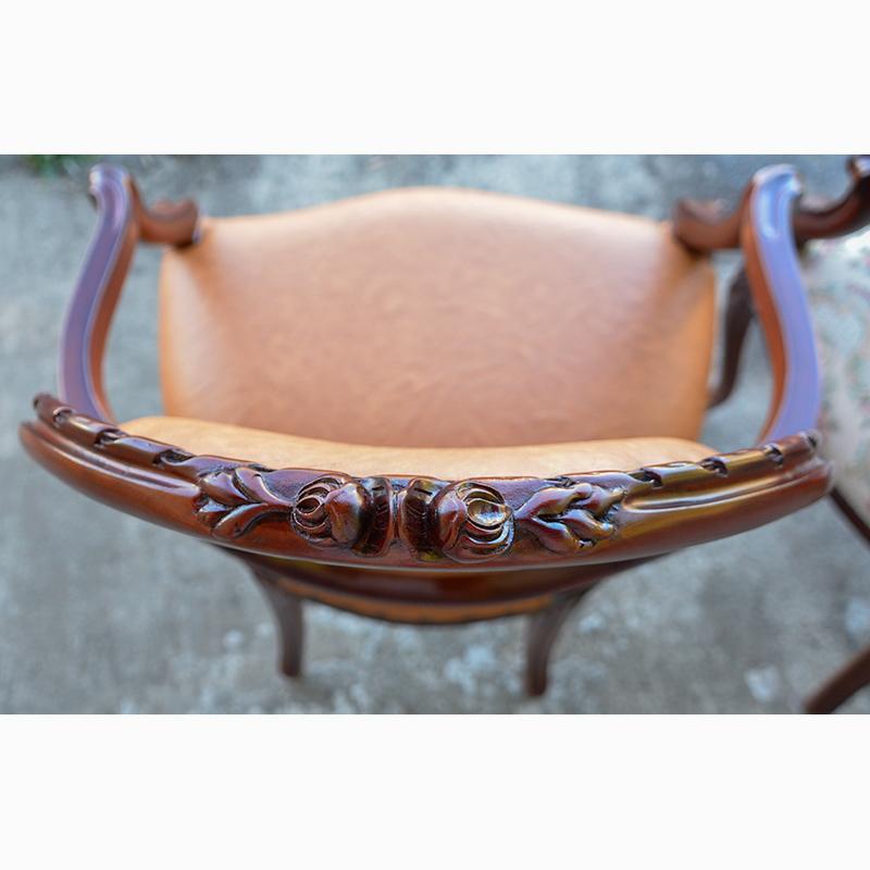 marrone 肘付き椅子 アームチェア PVC キャメルブラウン マホガニー材使用