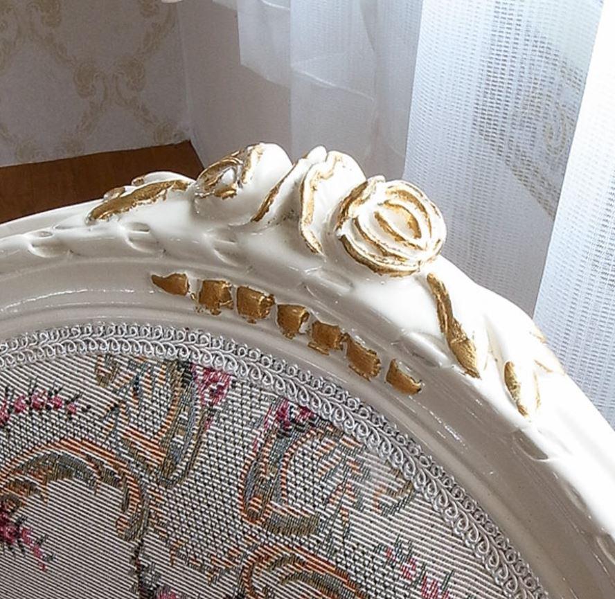 お客様組み立て アンティーク調 姫系 ロココ調 oro bianco ダイニング5点セット:楕円135ロココ調家具:アイボリーゴールド:家具
