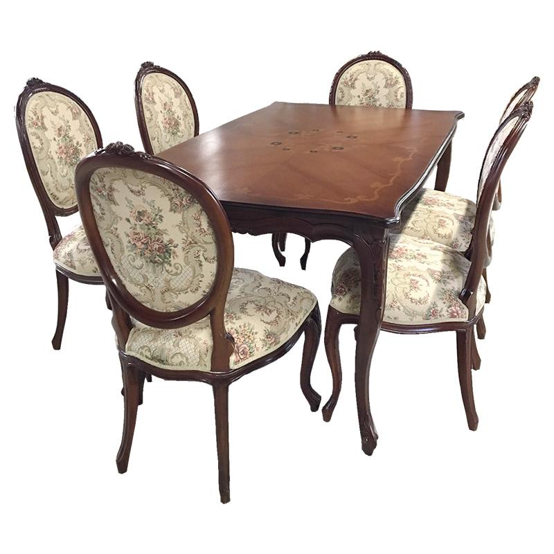 marrone スクエア ダイニングテーブル+ダイニングチェア6脚セット 食卓机+椅子6脚セット 150cm花柄 マホガニー材使用
