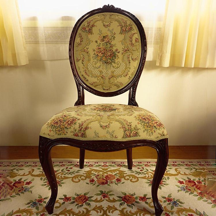 輸入家具 マホガニー:サイドチェアー&サイドテーブルセット:FabricA