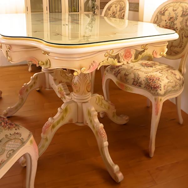 Rococo ロココ調 椅子 ダイニングチェア FabricAローズ マホガニー材使用