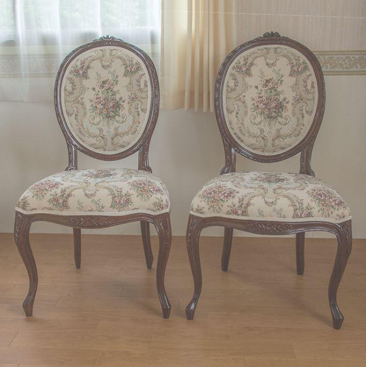 2脚セット marrone 椅子 ダイニングチェア FabricAローズ マホガニー材使用