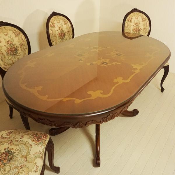 【送料無料】marrone 135花柄  ダイニングテーブル+チェア4脚セット 楕円形 マホガニー