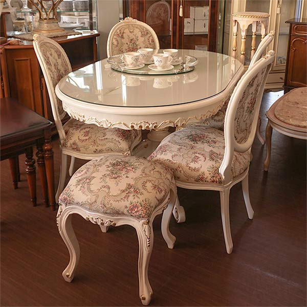 oro bianco ロココ調 猫脚 ダイニングテーブル 食卓机 楕円形 オーバルテーブル 135cm マホガニー材使用