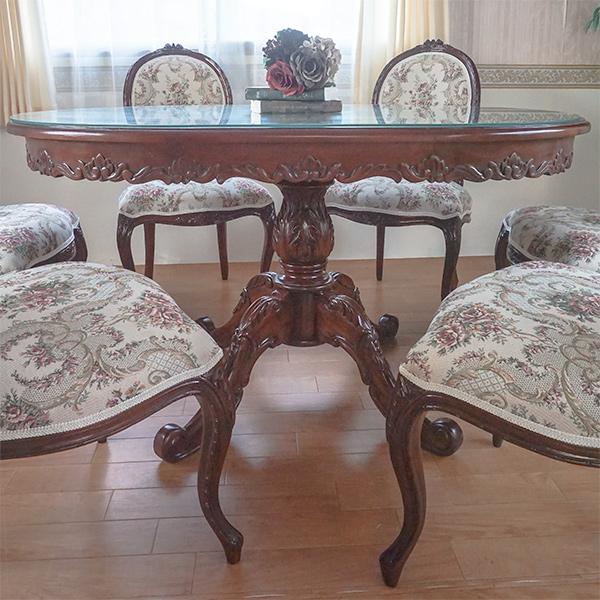 輸入家具 marrone ダイニングテーブル 食卓机 ラウンド100;cm花柄  トップガラスサービス