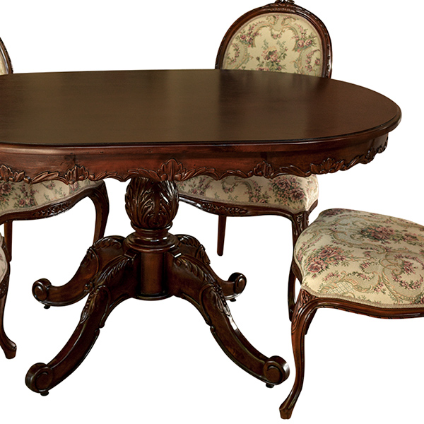 marrone ダイニングテーブル 食卓机 楕円形 135cm花柄 マホガニー材使用