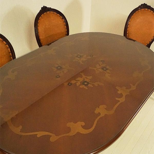 【送料無料】marrone ダイニングテーブル 食卓机 楕円形 135cm花柄 マホガニー材使用