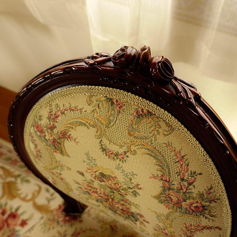 マホガニー 家具 ダイニング3点セット 丸:80x80花柄:ブラウン 天板ガラスサービス 送料無料