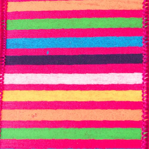 MING ワイヤーリボン ボーダーミックス (ピンク) 幅6.4cm