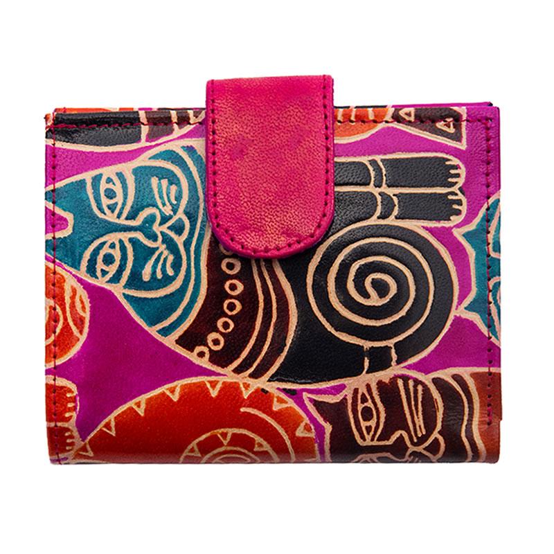 山羊革 二つ折財布ワイドぐるぐるネコ柄(ピンク)