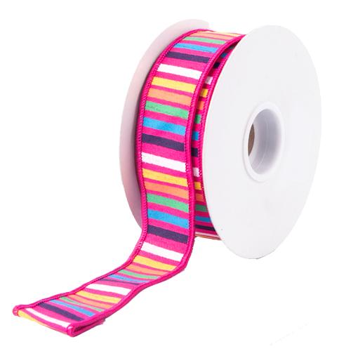 MING ワイヤーリボン ボーダーミックス (ピンク) 幅3.6cm