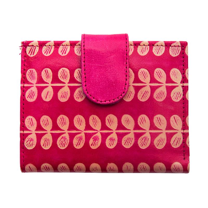 山羊革 二つ折財布ワイド 豆柄(ピンク)