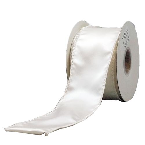 MING ワイヤーリボン ヴィクトリアサテン (白) 幅6.25cm