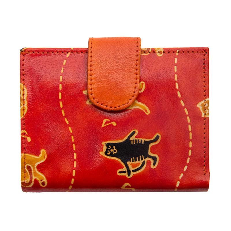 山羊革 二つ折財布ワイド コーラス猫柄(オレンジ)