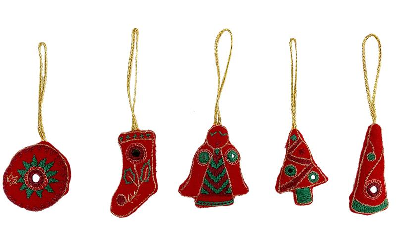 ミラー刺繍 クリスマスオーナメントセット(赤)