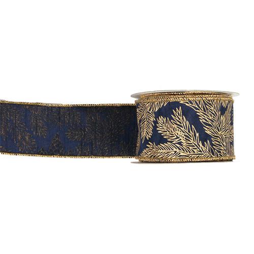 MING ワイヤーリボン モミ枝プリント (紺) 幅6.25cm