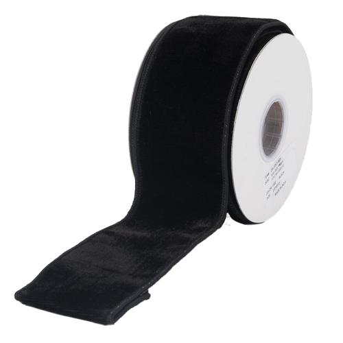 MING ワイヤーリボン プレーンベルベット (黒) 幅6.3cm
