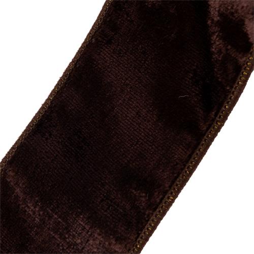 MING ワイヤーリボン プレーンベルベット (チョコレート) 幅6.3cm