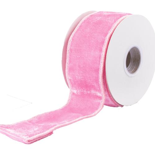 MING ワイヤーリボン プレーンベルベット (ピンク) 幅6.3cm